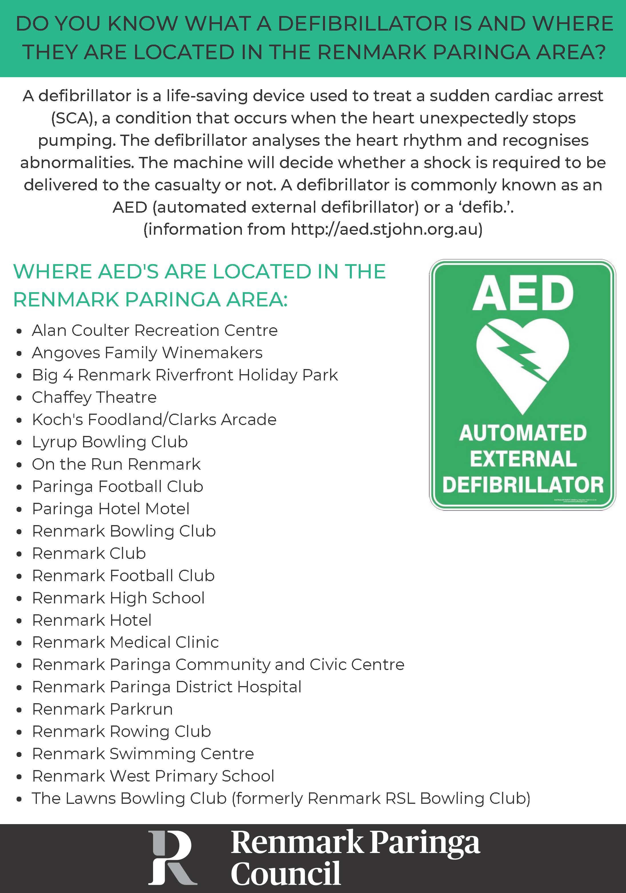 Defibrillators Renmark Paringa Area